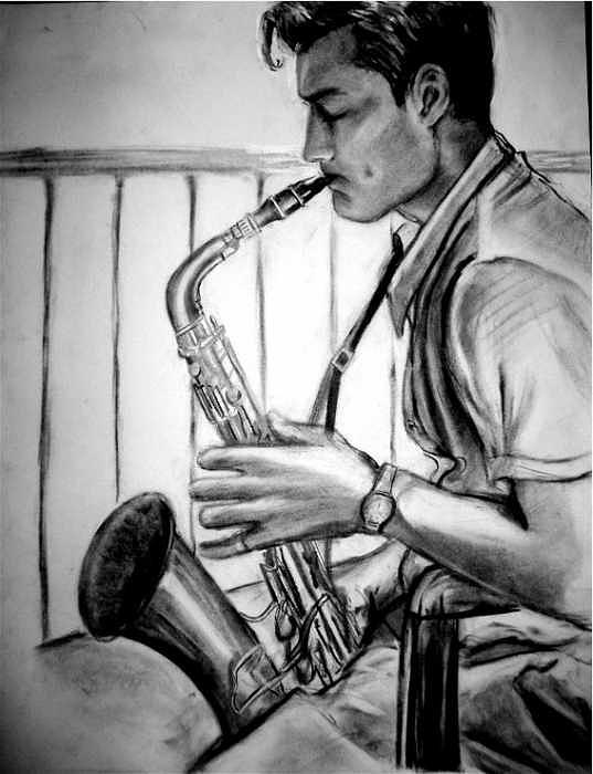 Handsome Man Drawing - Saxophone Player by Laura Rispoli