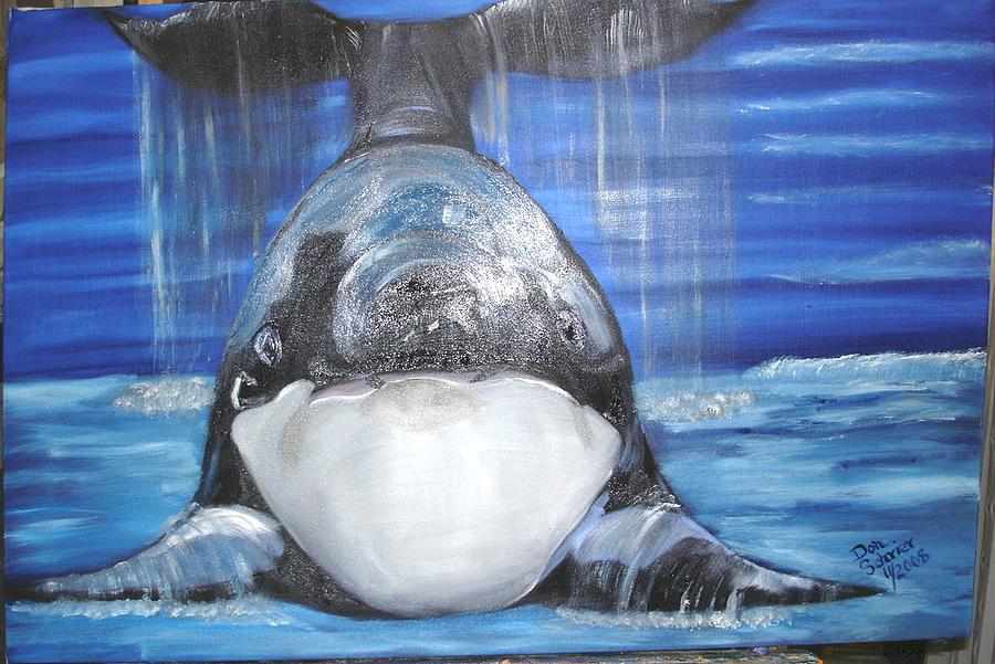 Whales Painting - Say Cheese by Donald Schrier