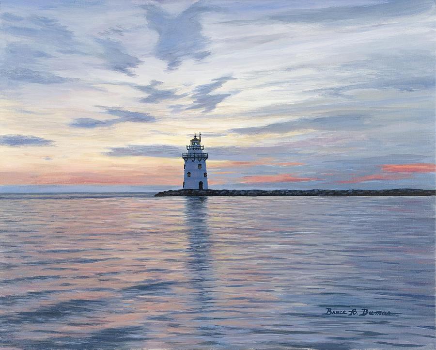 Seascape Painting - Saybrook Breakwater Light by Bruce Dumas