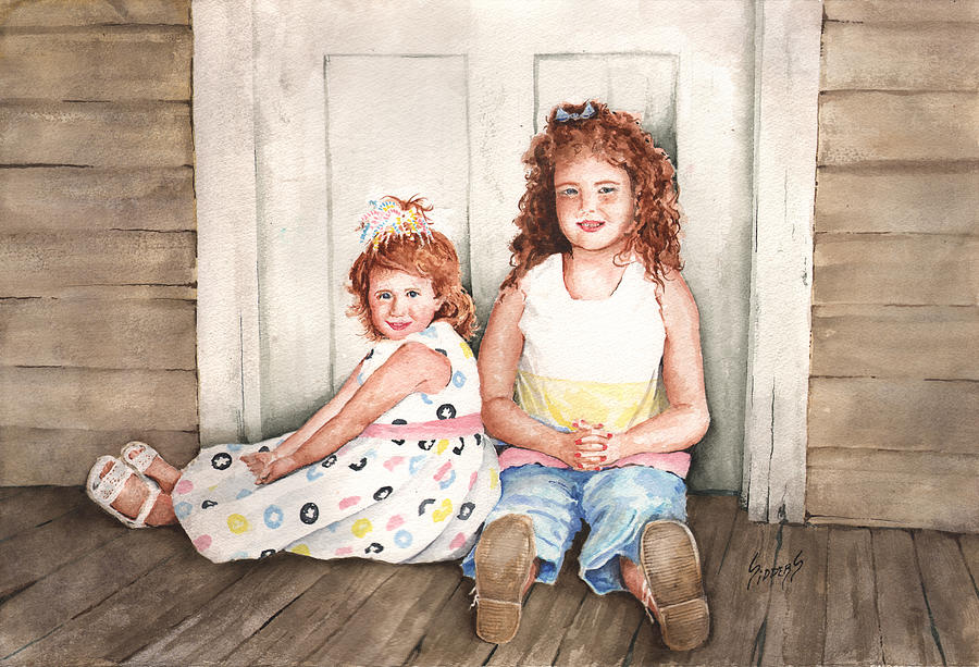 Children Painting - Sayler and Tayzlee by Sam Sidders
