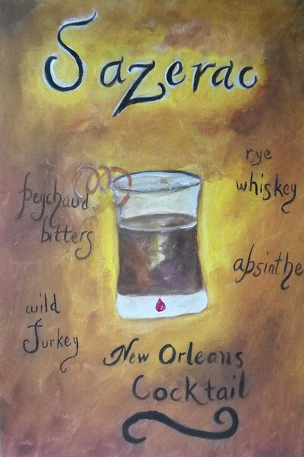 Shot Glass Painting - Sazerac by Marian Hebert
