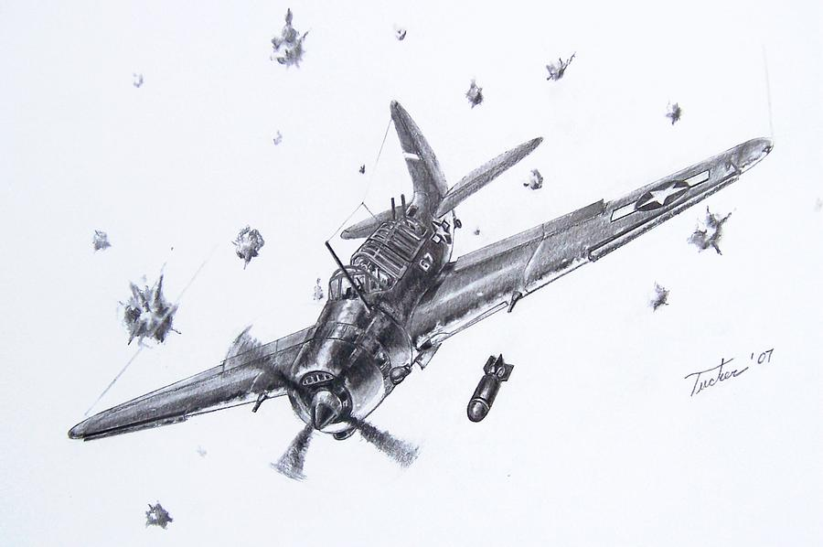 Helldiver Drawing - Sb2c Helldiver by Andrew Tucker