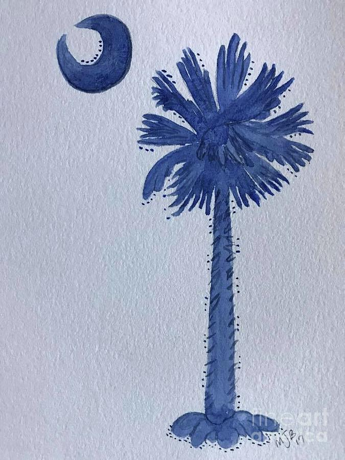 Sc Palmetto And Crescent Painting by Mitzi Bennett