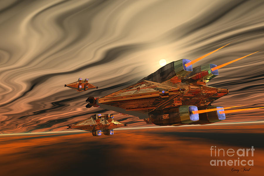 Spaceship Painting - Scadlands by Corey Ford