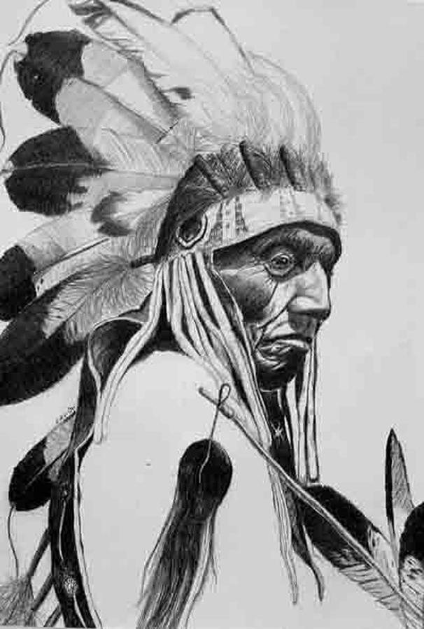 Native American Indian Drawing - Scalp by Sam Vega