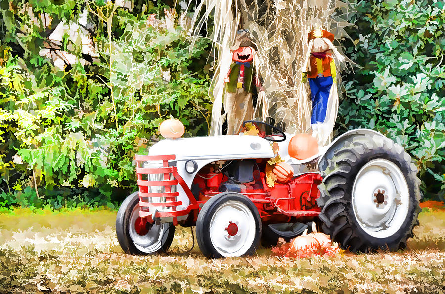 Agricultural Painting - Scarecrow And Pumpkins 2 by Lanjee Chee