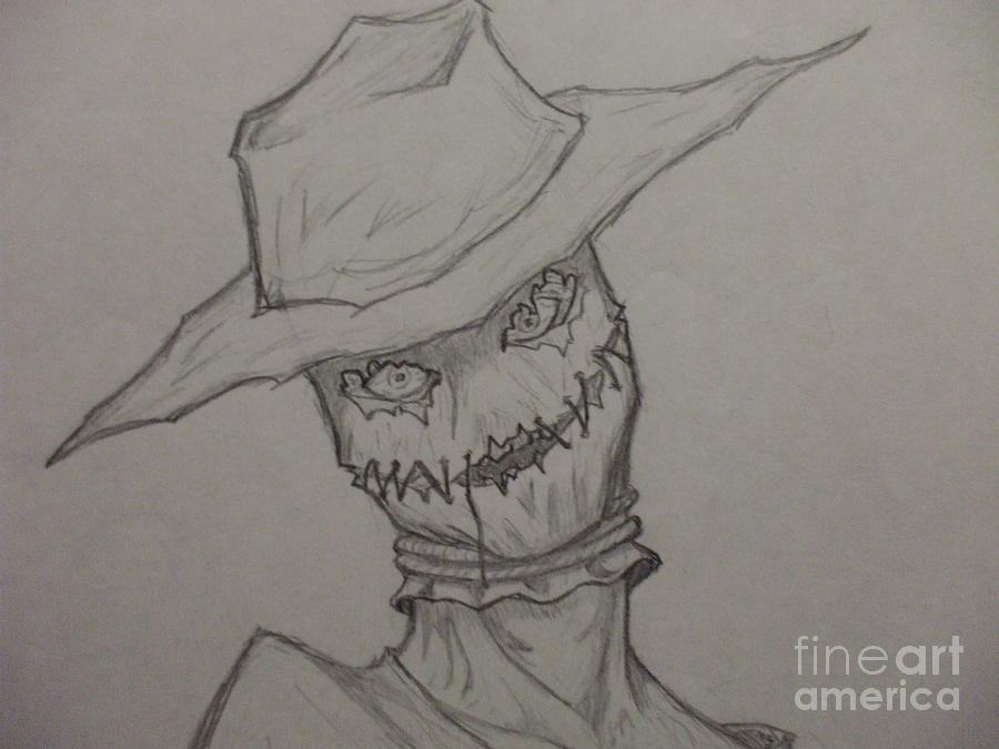 scarecrow drawing scarecrow closeup by john prestipino