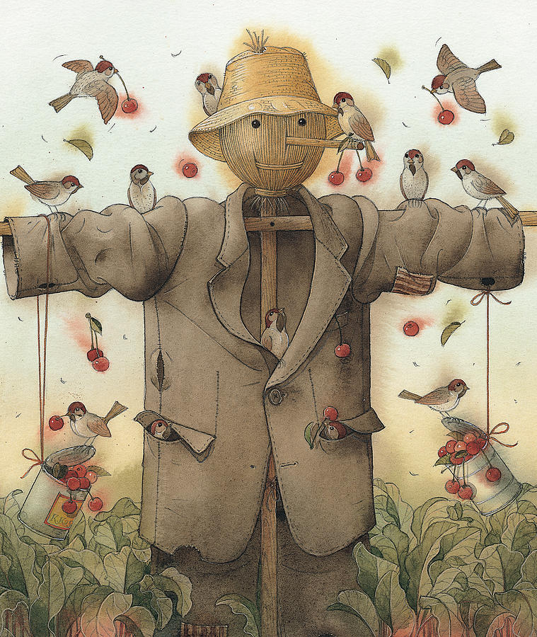 Scarecrow  Painting by Kestutis Kasparavicius