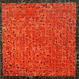 Scarlet Grid Painting by Ben Mitchell