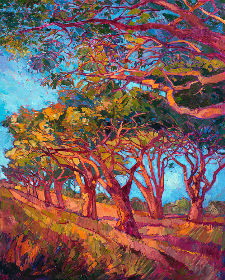 Wine Country Painting - Scarlet Light II by Erin Hanson