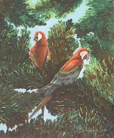 Parrot Painting - Scarlet Macaw Tree by Susan Elizabeth Wolding