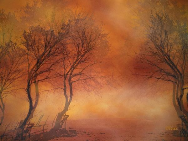 Impressionism Mixed Media - Scarlet Mist by Charles Oliver