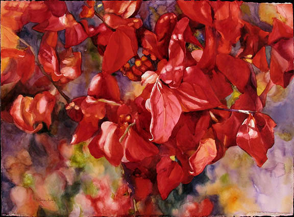 Watercolor Painting - Scarlet Splendor by Carolyn Epperly