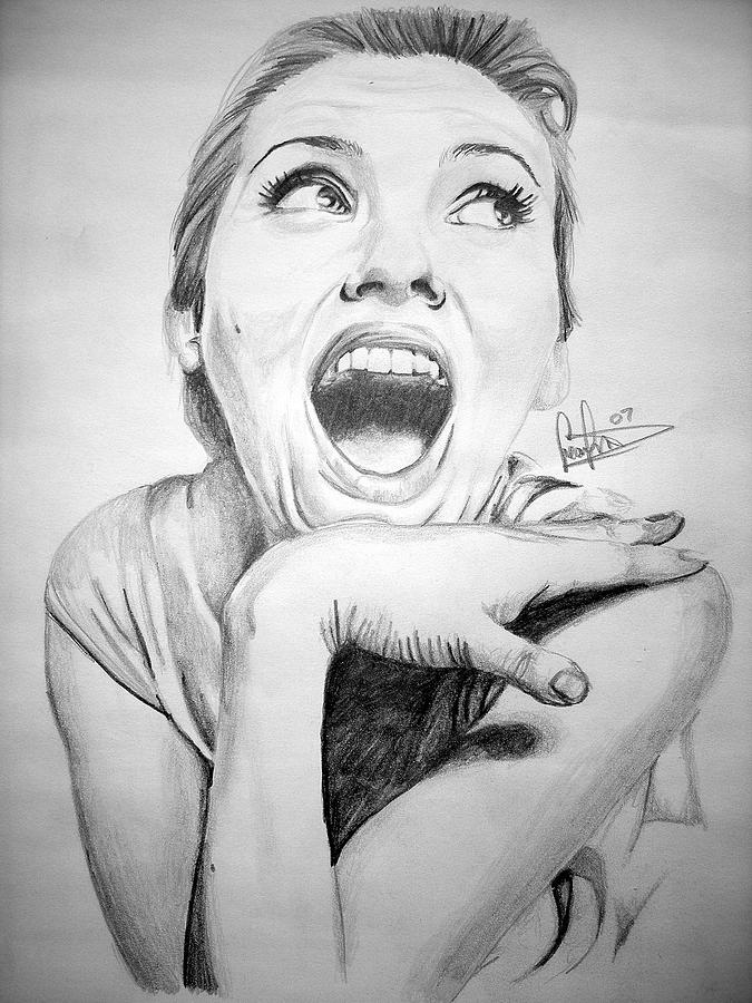 Scarlett Johansson Drawing by Sean Leonard