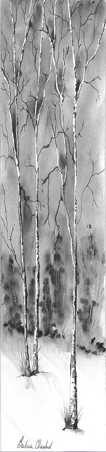 Trees Painting - Scary Birch Trees by Barbara Cleveland