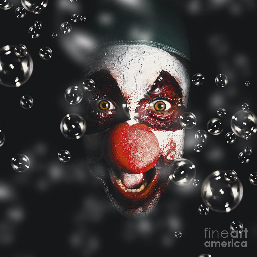 Clown Photograph - Scary Horror Circus Clown Laughing With Evil Smile by Jorgo Photography - Wall Art Gallery