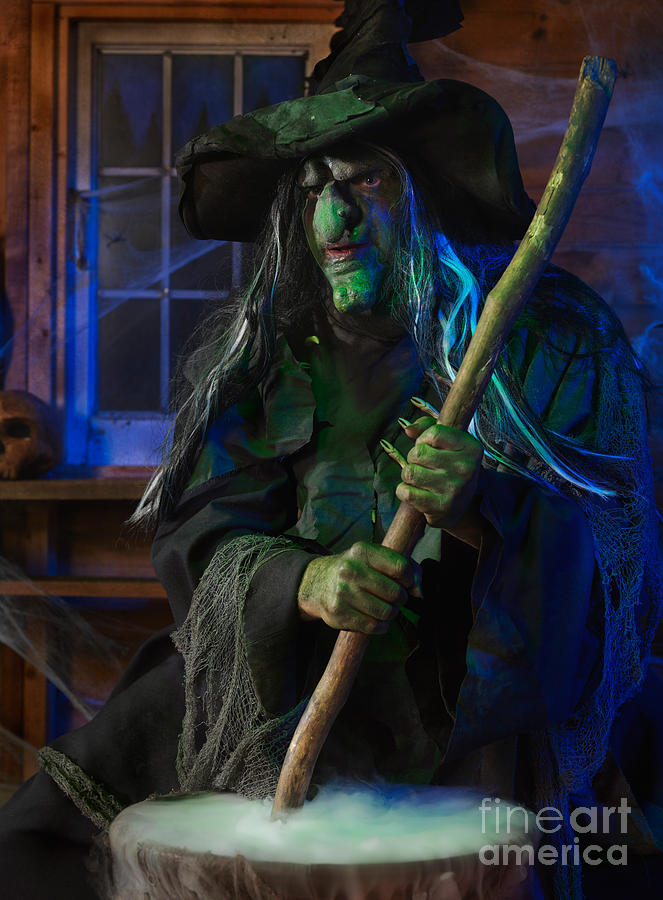 Witch Photograph - Scary Old Witch by Oleksiy Maksymenko