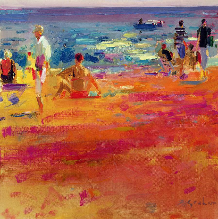 Beach Painting - Scene De Plage by Peter Graham