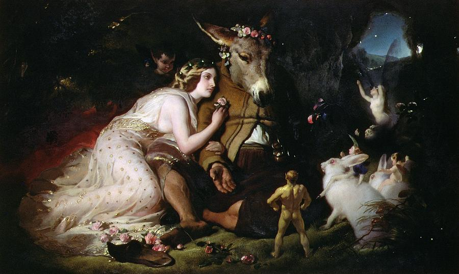 Scene From A Midsummer Night's Dream. Titania And Bottom Painting - Scene From A Midsummer Nights Dream by Sir Edwin Landseer