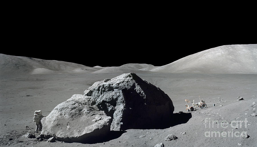 Adults Only Photograph - Scene From Apollo 17 Extravehicular by Stocktrek Images