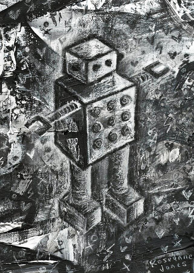 Robot Painting - Scene Kid Robot by Roseanne Jones