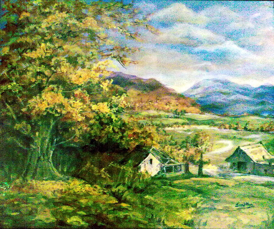 Scenery Of A Village Painting By Smitha Kamath