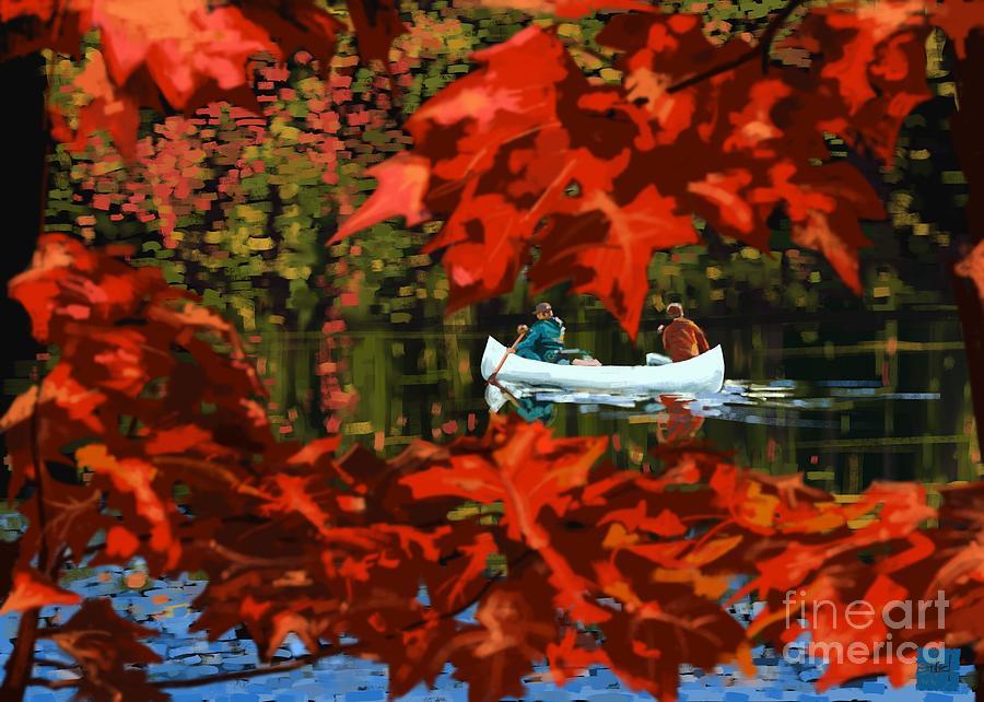 Fall Painting - Scenic Autumn canoe  by Sassan Filsoof