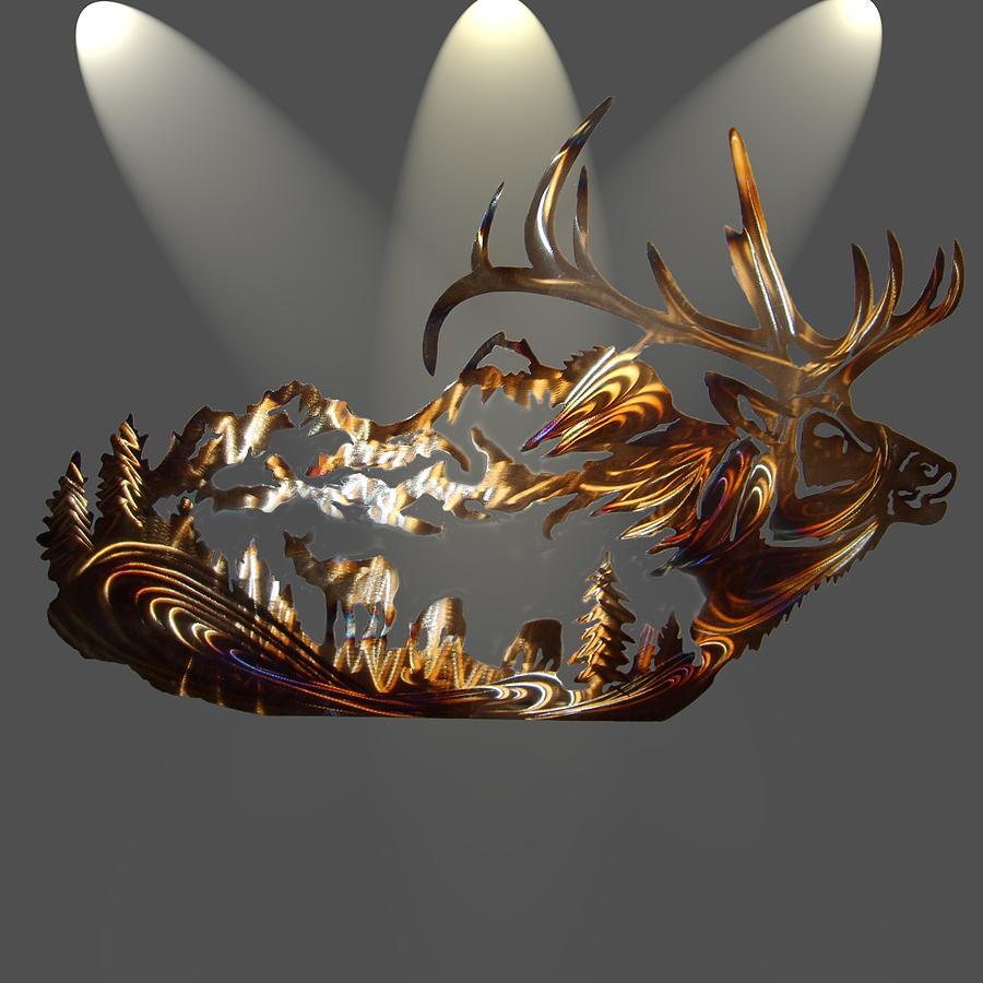 Scenic Elk Life Sculpture by Jason  Krob