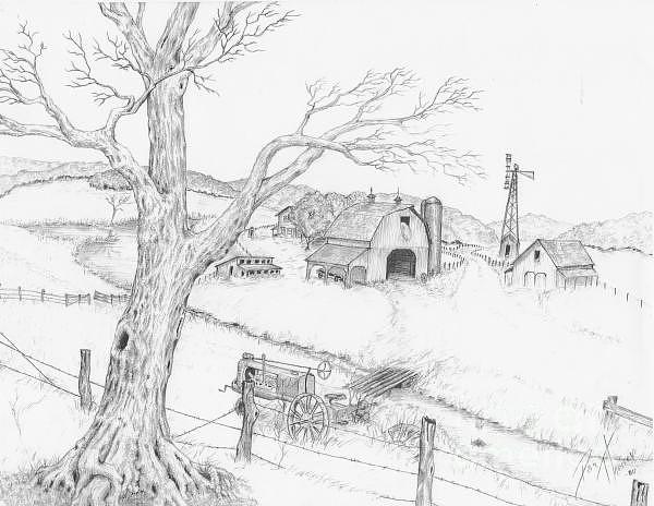 Landscape Drawing - Scenic by Karthik