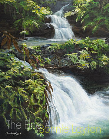 Scenic Route 1 Onomea Falls Print by Bonnie  Layton