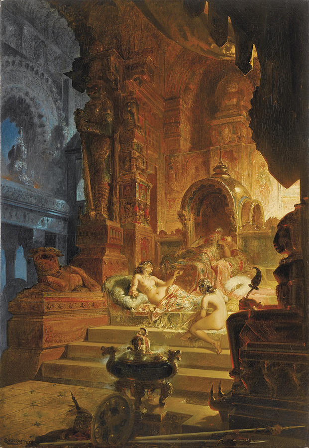 Scheherazade And The Sultan Painting By Alfred Choubrac