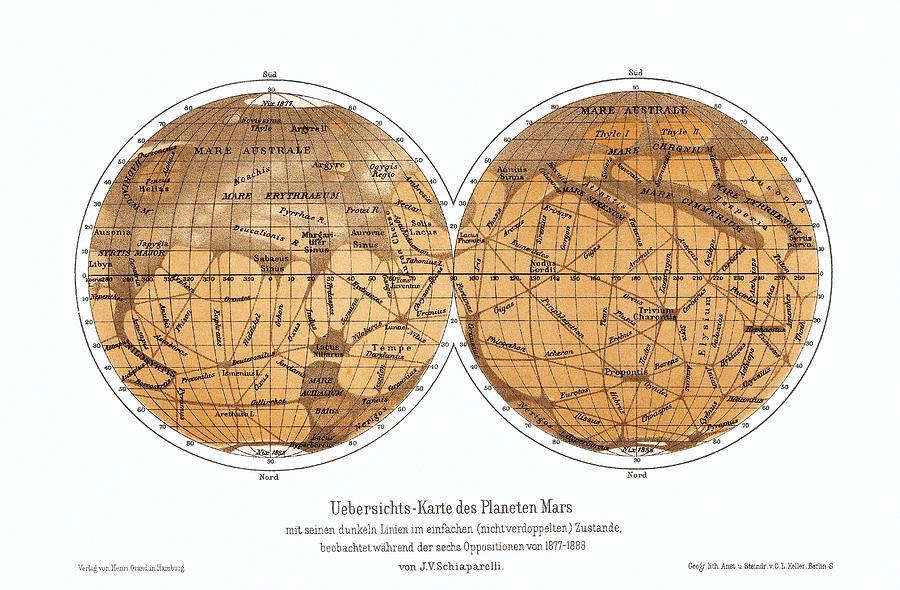 Mars Photograph - Schiaparellis Map Of Mars, 1877-1888 by Detlev Van Ravenswaay