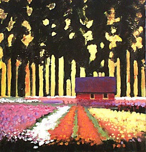 Landscape Painting - Schmidtz Nursery-flowers by Dalas  Klein