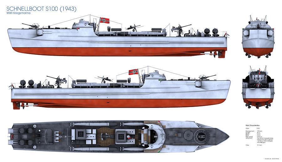 Schnellboot Digital Art - Schnellboot S100 by Carlo Cestra