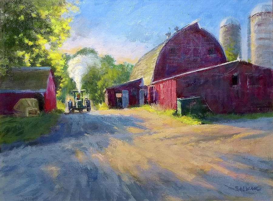 Landscape Painting - Schobers Barn At Sunset by Peter Salwen