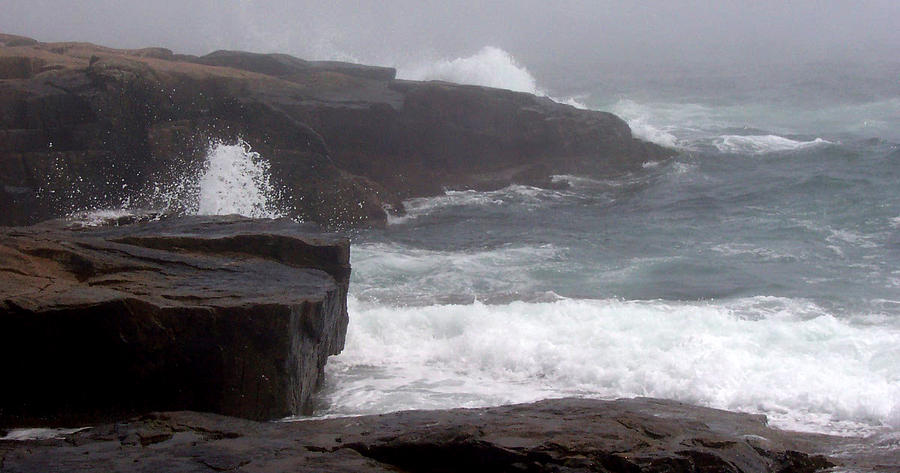 Waves Photograph - Schoodic Point by Lisa Kane