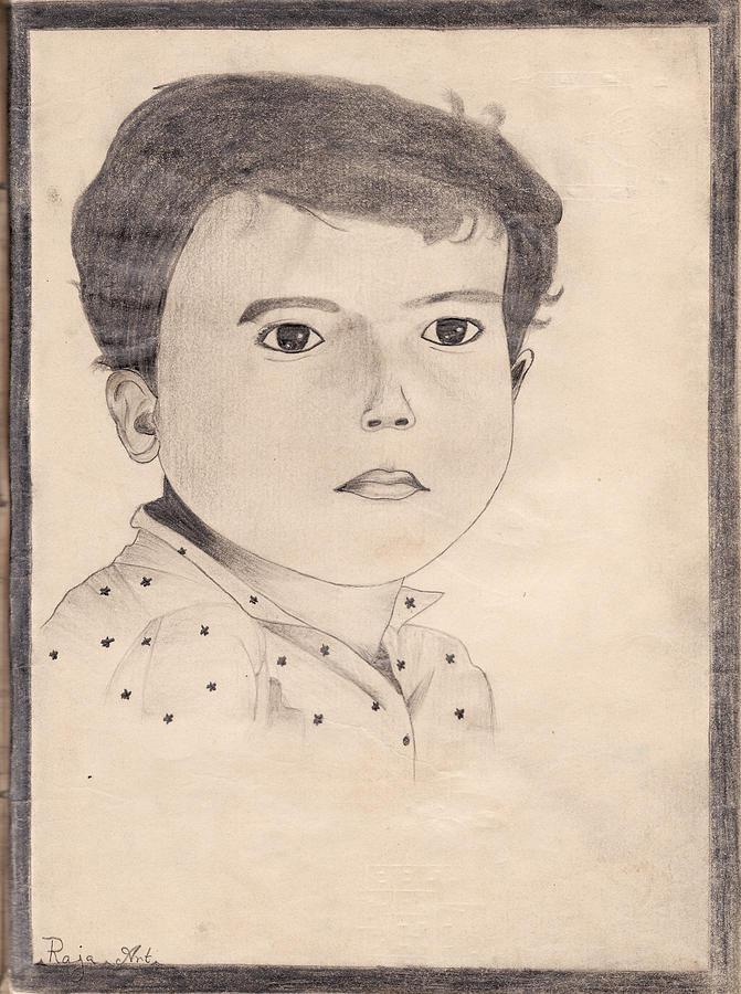 Boy Painting - School 1963 - 105 by Mohd Raza-ul Karim