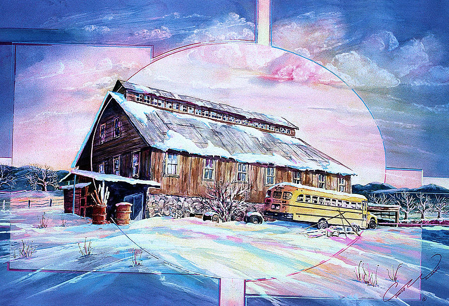 Bar Painting - School Bus And Barn by Connie Williams