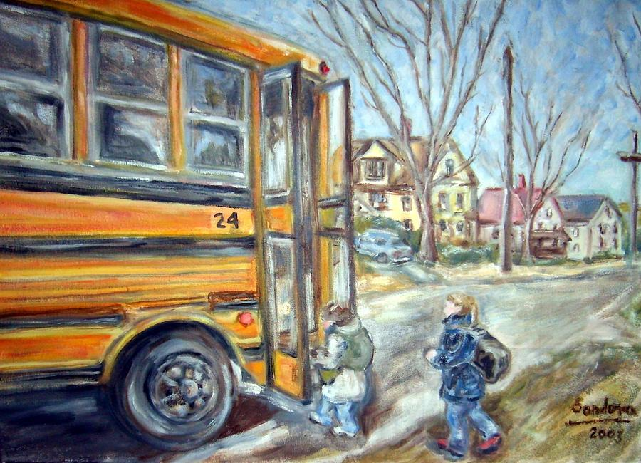 School Bus Painting by Joseph Sandora Jr