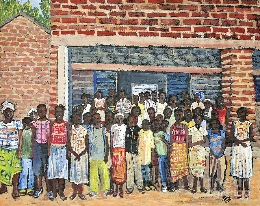 Africa Painting - School Class Burkina Faso Series by Reb Frost