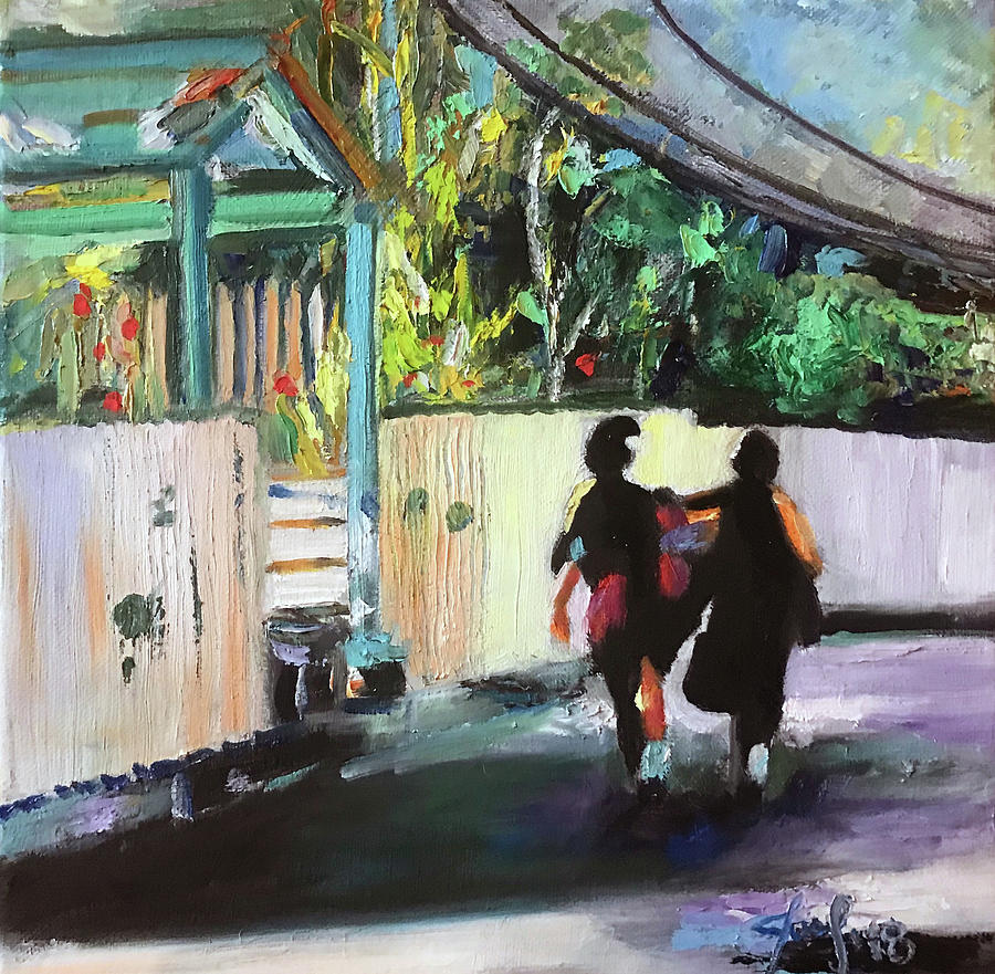 Hope Town Painting - School Day in Hope Town by Josef Kelly