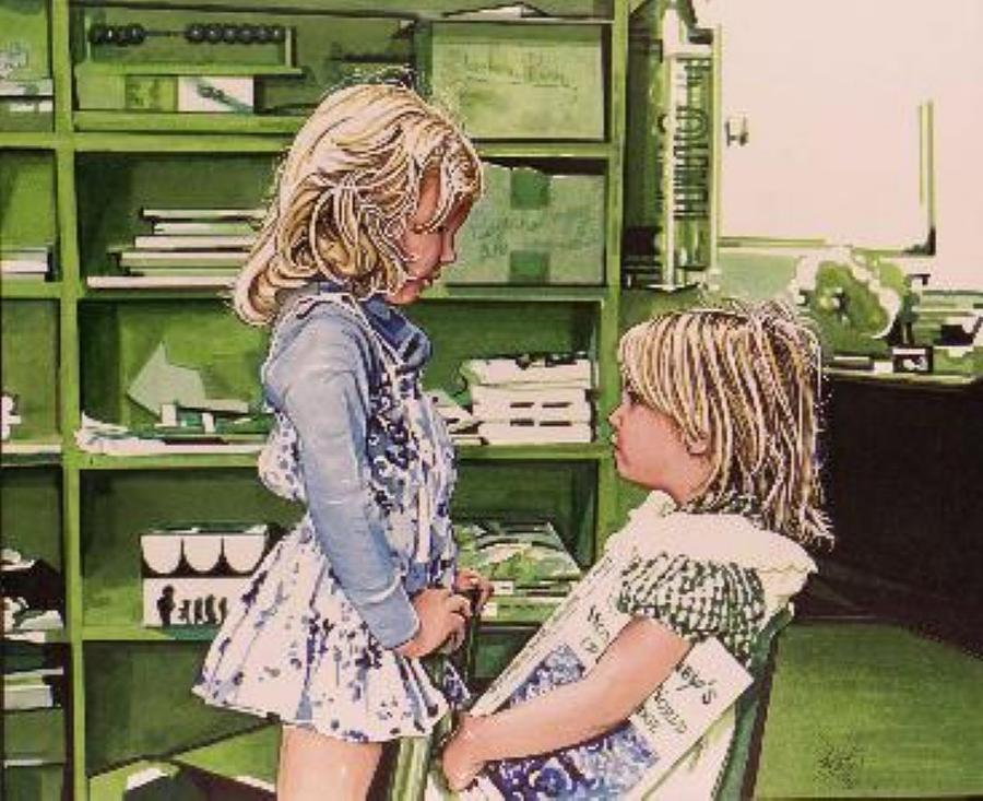 Giclee Drawing - School Days by Neal Portnoy