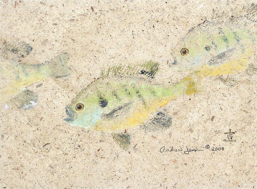 Gyotaku Painting - School Of Bluegill by Andrew Jensen