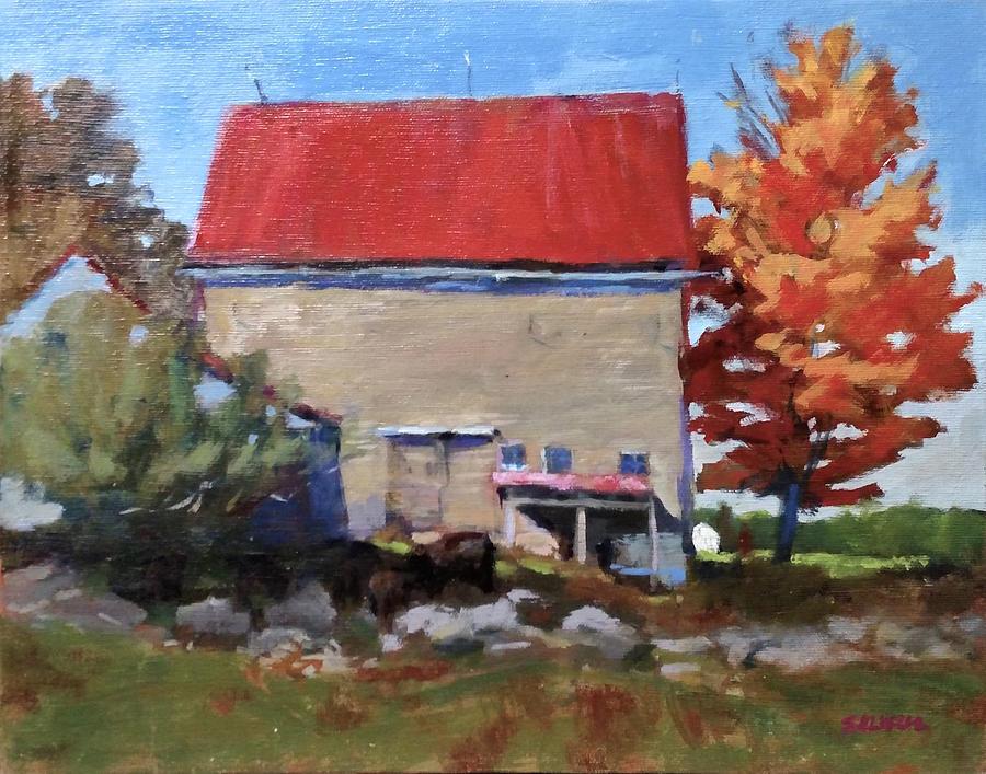 Landscape Painting - Schoolhouse Farm, Warren, Maine by Peter Salwen