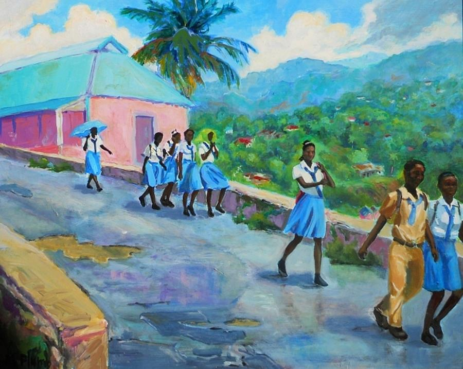 Schools Out In Jamaica Margaret Plumb on Metal Wall Art Mountains Trees