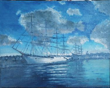 Schooner At Port Painting by Frank Sharp