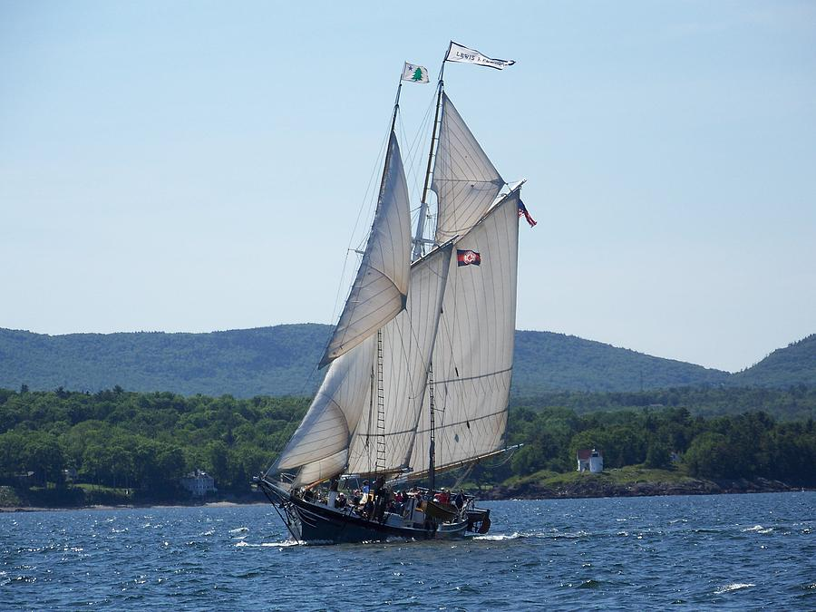 Schooner Lewis R French Sailing Along Photograph by Joseph Rennie