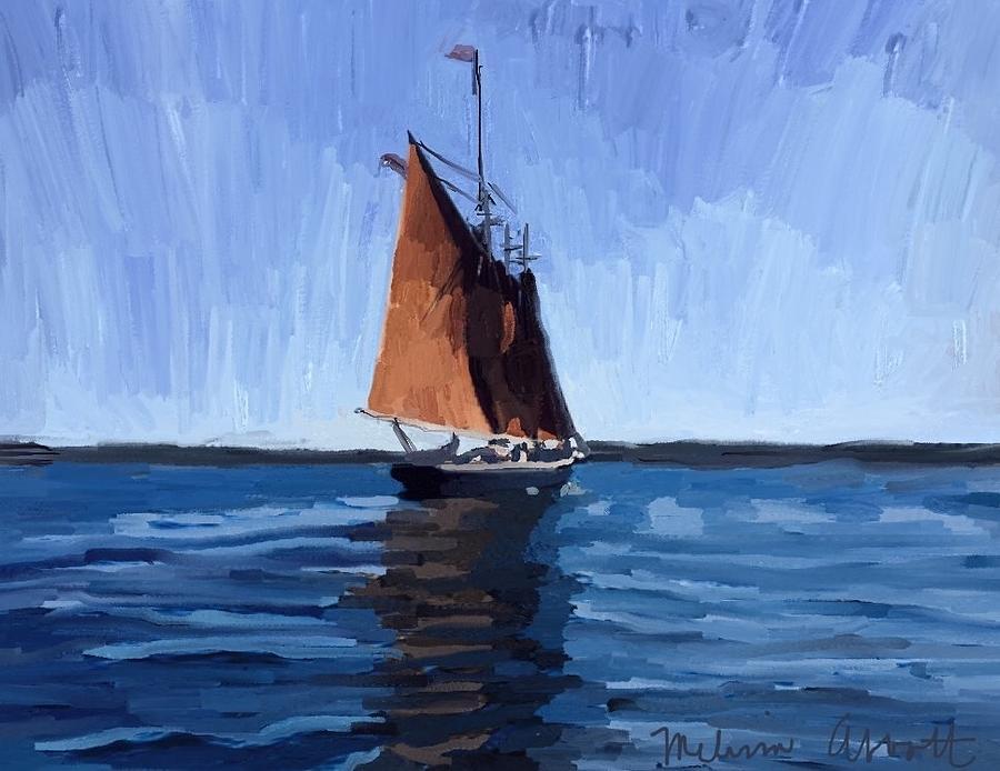 Schooner Painting - Schooner Roseway In Gloucester Harbor by Melissa Abbott