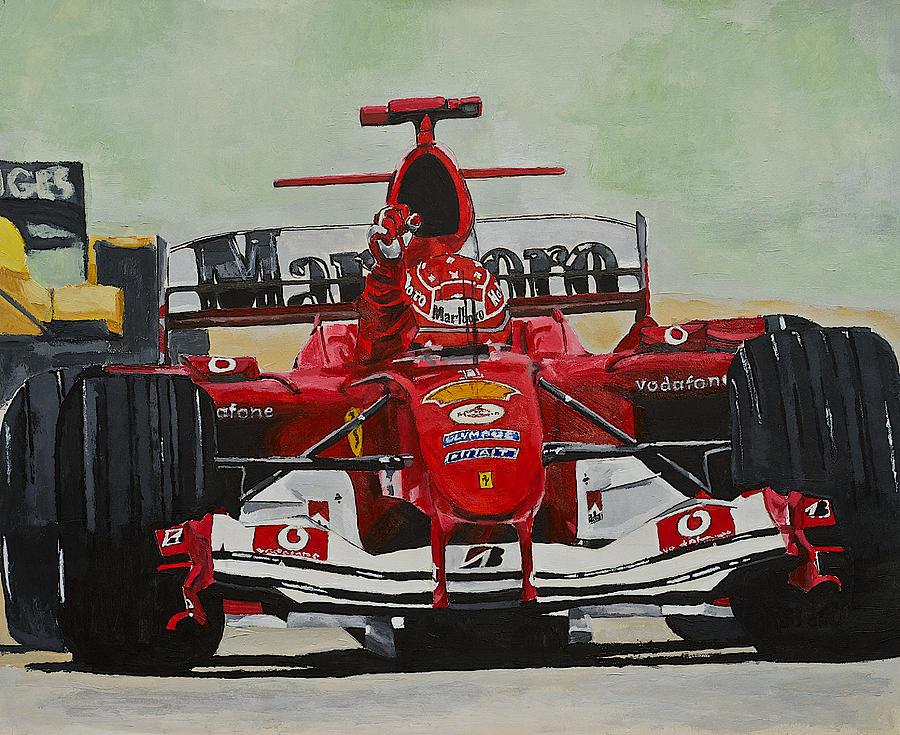 Michael Schumacher Painting - Schumacher Wins by Terry Gill