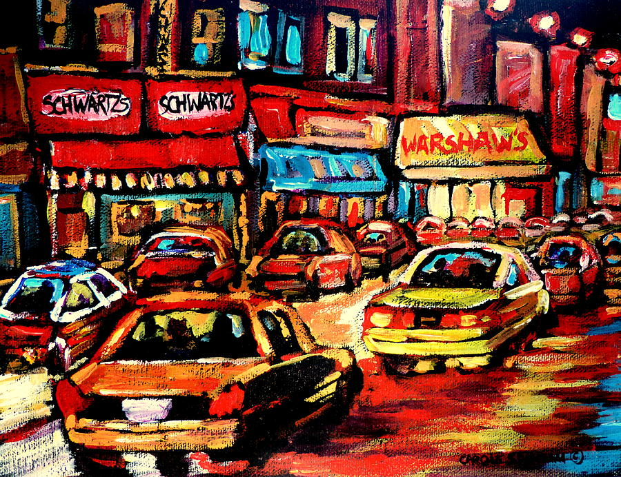 Montreal Painting - Schwartzs Deli At Night by Carole Spandau